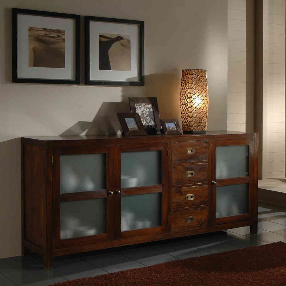 Affordable view images credenza coloniale ante vetro teak for Arredamento etnico on line