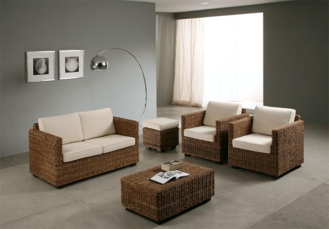 Salotto in abaca con divano 2p salotti etnici for Salotto giardino offerta