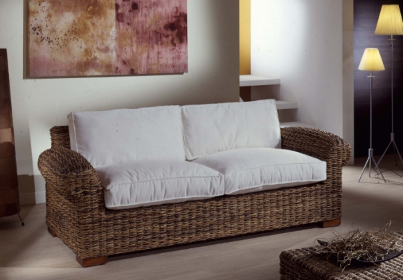 Salotto in abaca con divano 2p mobili giardino esterno - Divani x esterno ...