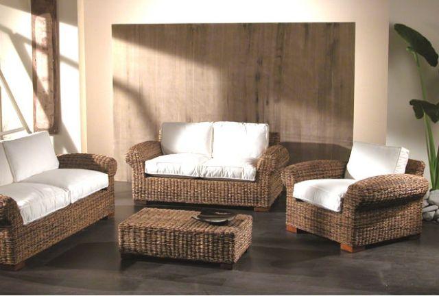 Salotto in abaca con divano 2p mobili giardino esterno - Salotti da giardino economici ...