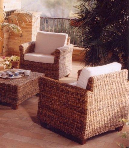 Salotto fibra naturale con divano 2p etnico outlet mobili etnici - Divano in banano ...