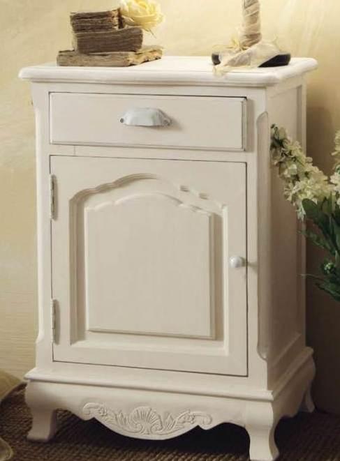 Comodino bianco provenzale mobili shabby chic provenzali for Bianco e dintorni arredamento provenzale