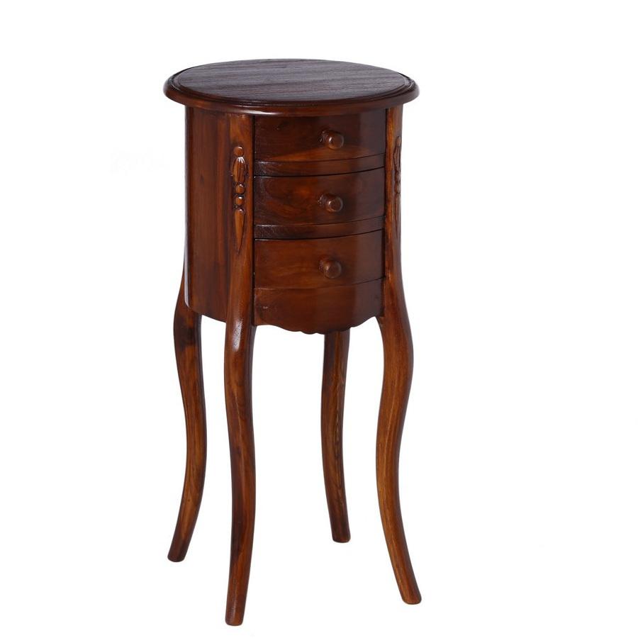 Comodino tavolino tondo teak mobili etnici orientali online - Tavolino comodino ...