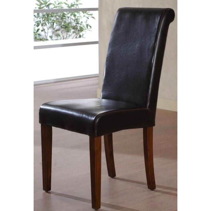 Sedia in ecopelle brown sedie pelle online for Sedie pelle e legno