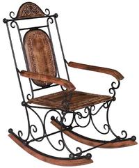 Sedia a dondolo legno e ferro sedie orientali for Cuscino x sedia a dondolo
