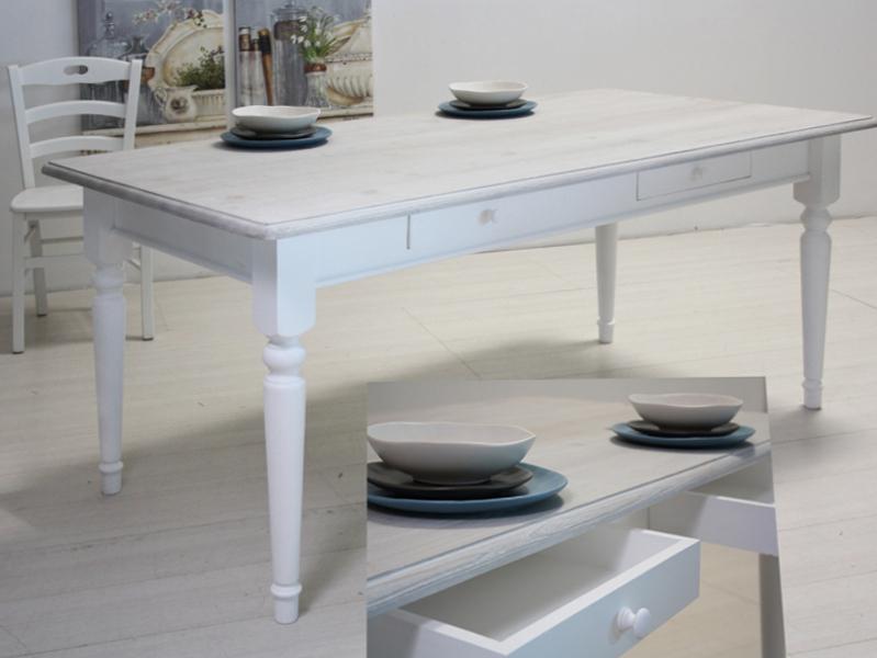 Tavolo bianco decapato shabby arredo provenzale online for Arredo provenzale on line