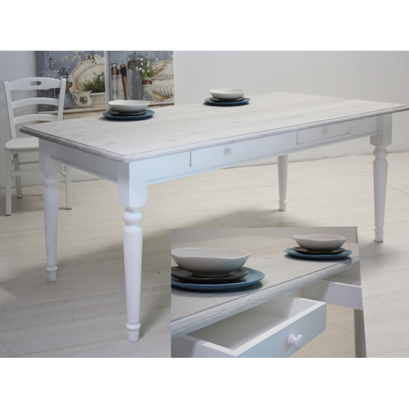Tavolo bianco decapato Shabby - Etnico Outlet mobili etnici