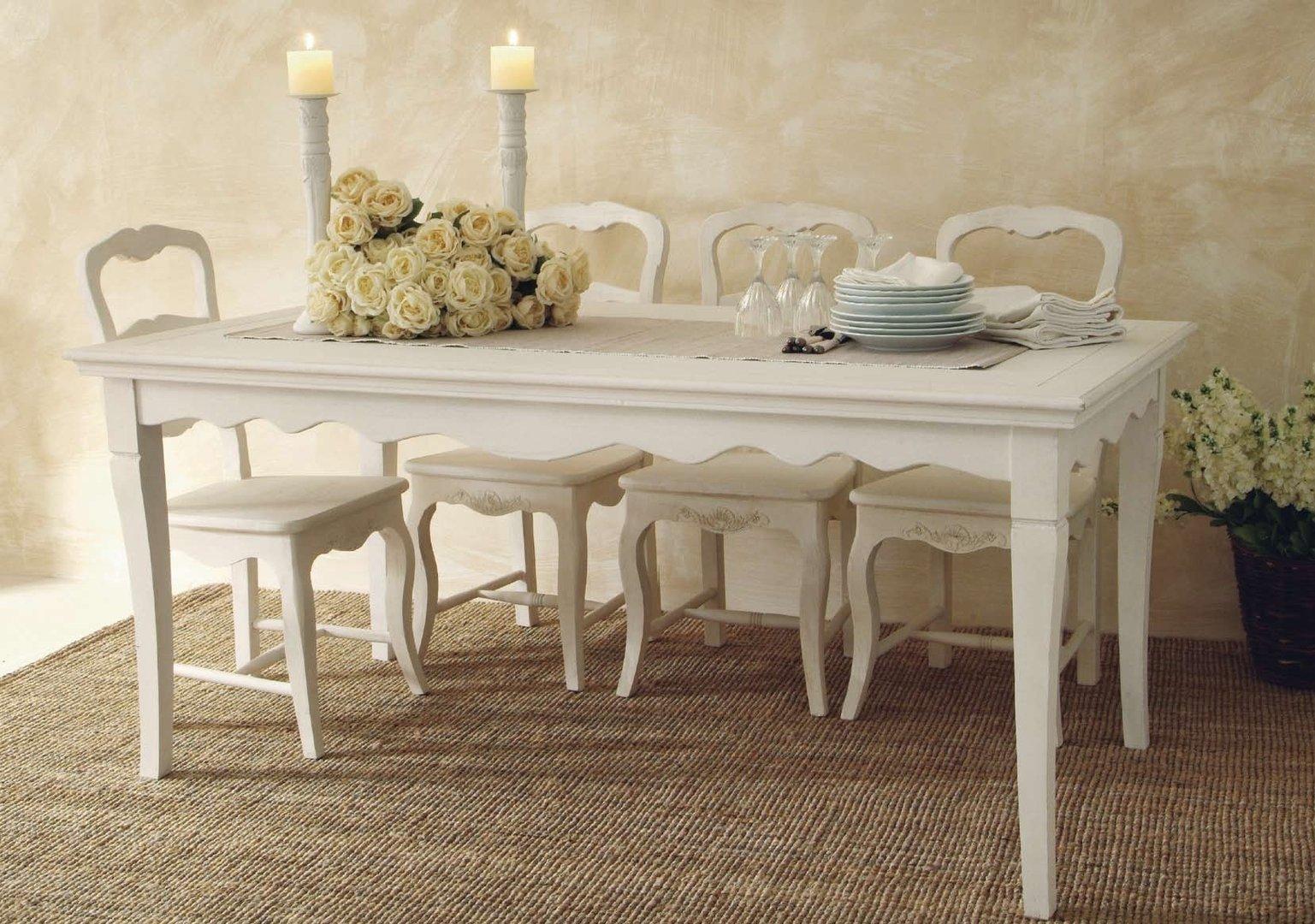Tavolo provenzale fisso tavolo shabby chic - Tavolo bianco shabby chic ...
