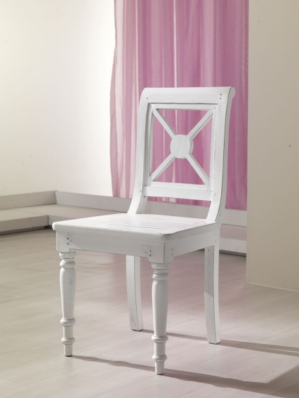 Sedia bianca shabby teak etnico outlet mobili etnici - Sedia legno bianca ...