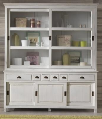 Vetrina libreria 182x45x210 legno massello bianco shabby for Credenze alte