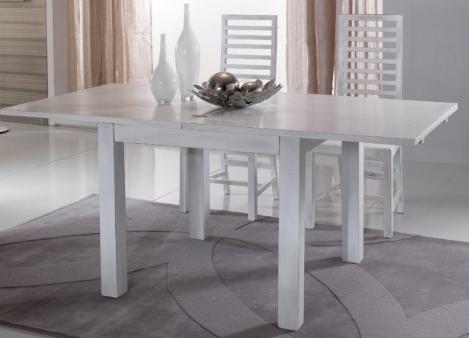 Tavolo bianco shabby chic allungabile legno massello for Tavoli bianchi