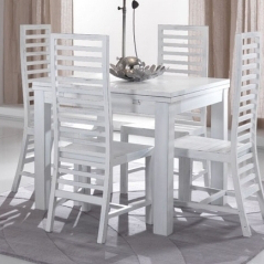Tavolo bianco shabby chic allungabile legno massello - Tavolo quadrato allungabile shabby chic ...