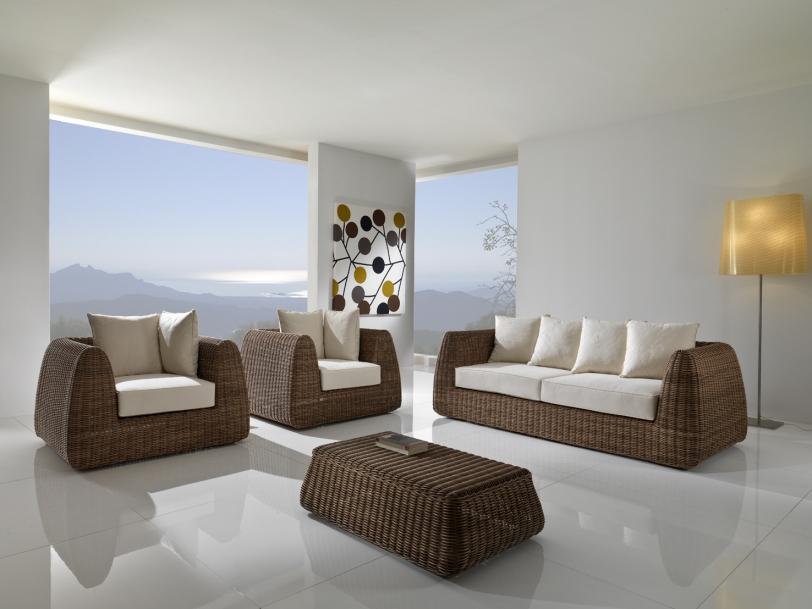 Poltrona polyrattan bronzato etnico outlet mobili etnici for Mobili giardino rattan sintetico