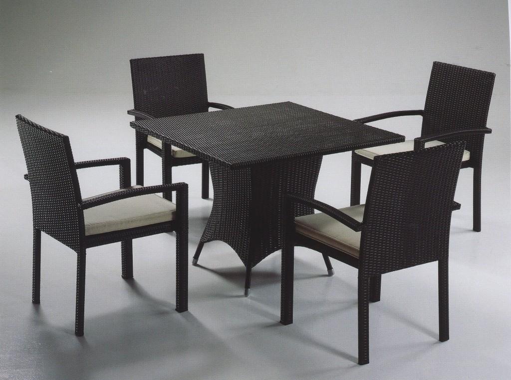 Tavolo polyrattan quadrato nero for Tavoli e sedie da soggiorno prezzi