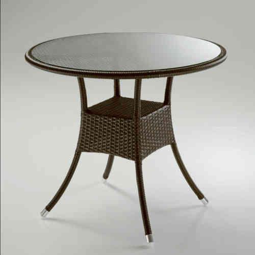 Tavolo tondo rattan marrone mobili shabby chic provenzali - Dimensioni tavolo tondo 4 persone ...