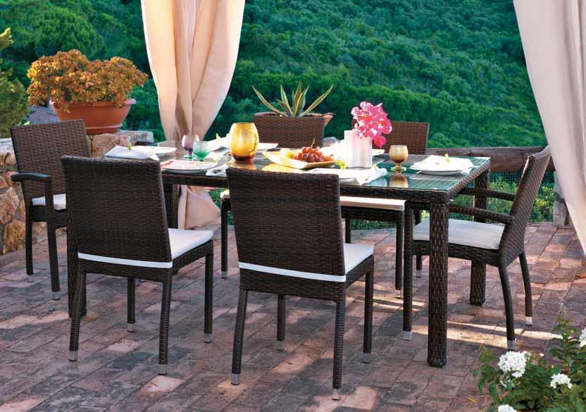 Tavolo da pranzo per giardino etnico outlet mobili etnici - Tavolo in rattan da giardino ...