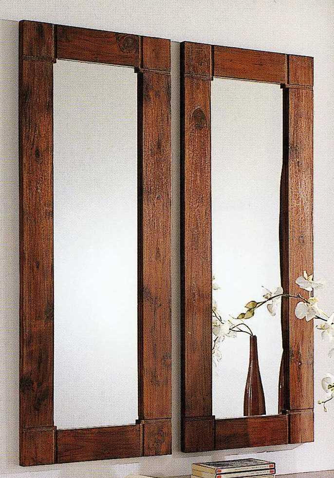 Specchio cornice legno teak etnico outlet mobili etnici - Specchio senza cornice ...