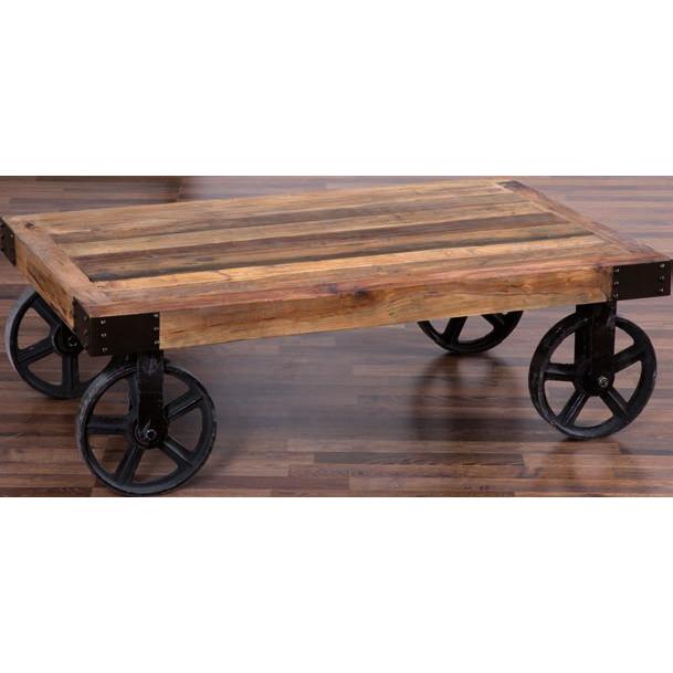 Tavolino vintage legno e ferro etnico outlet mobili etnici - Ruote per mobili vintage ...