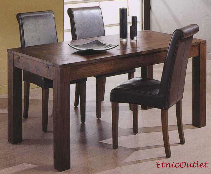 Tavolo etnico 80x160 allungabile a 200 in legno massello for Tavolo consolle allungabile legno massello