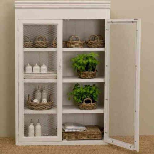 Vetrina legno bianco shabby chic arredamento provenzale online for Arredamento provenzale on line