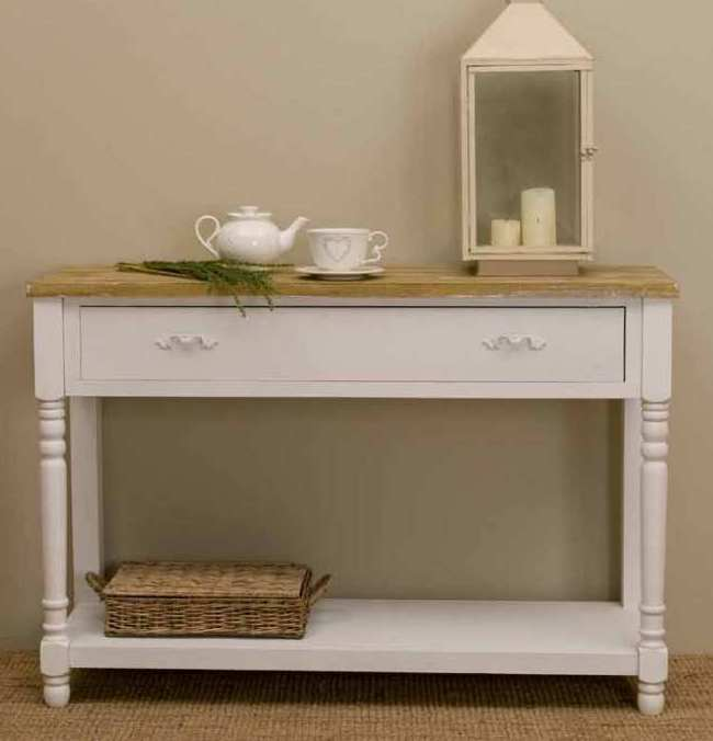 Consolle legno bianco shabby chic etnico outlet mobili for Consolle shabby chic
