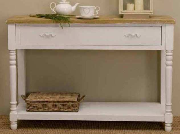 Consolle legno bianco shabby chic etnico outlet mobili for Consolle legno