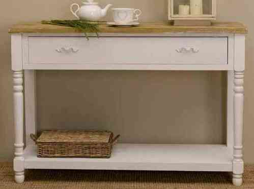 Consolle legno bianco shabby chic etnico outlet mobili for Ingresso shabby chic