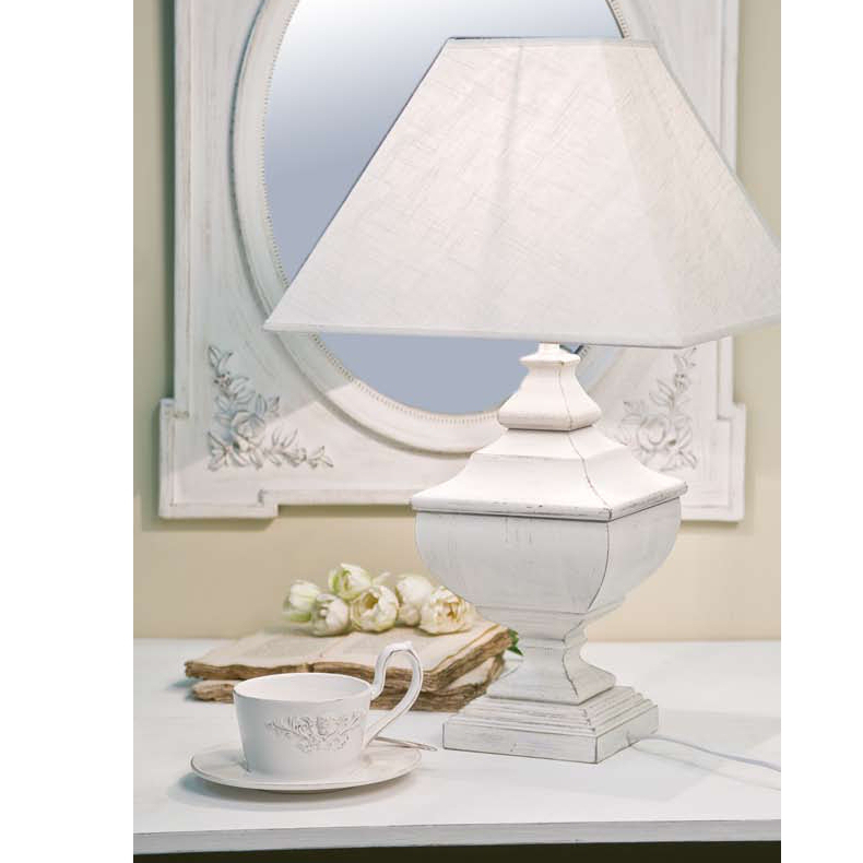 LAMPADA DA TAVOLO LEGNO BIANCA SHABBY CHIC H68 Lampade provenzali LX160012
