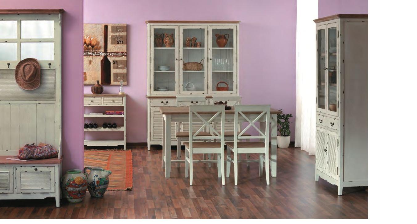 Credenza alta provenzale decapata etnico outlet mobili for Bianco e dintorni arredamento provenzale