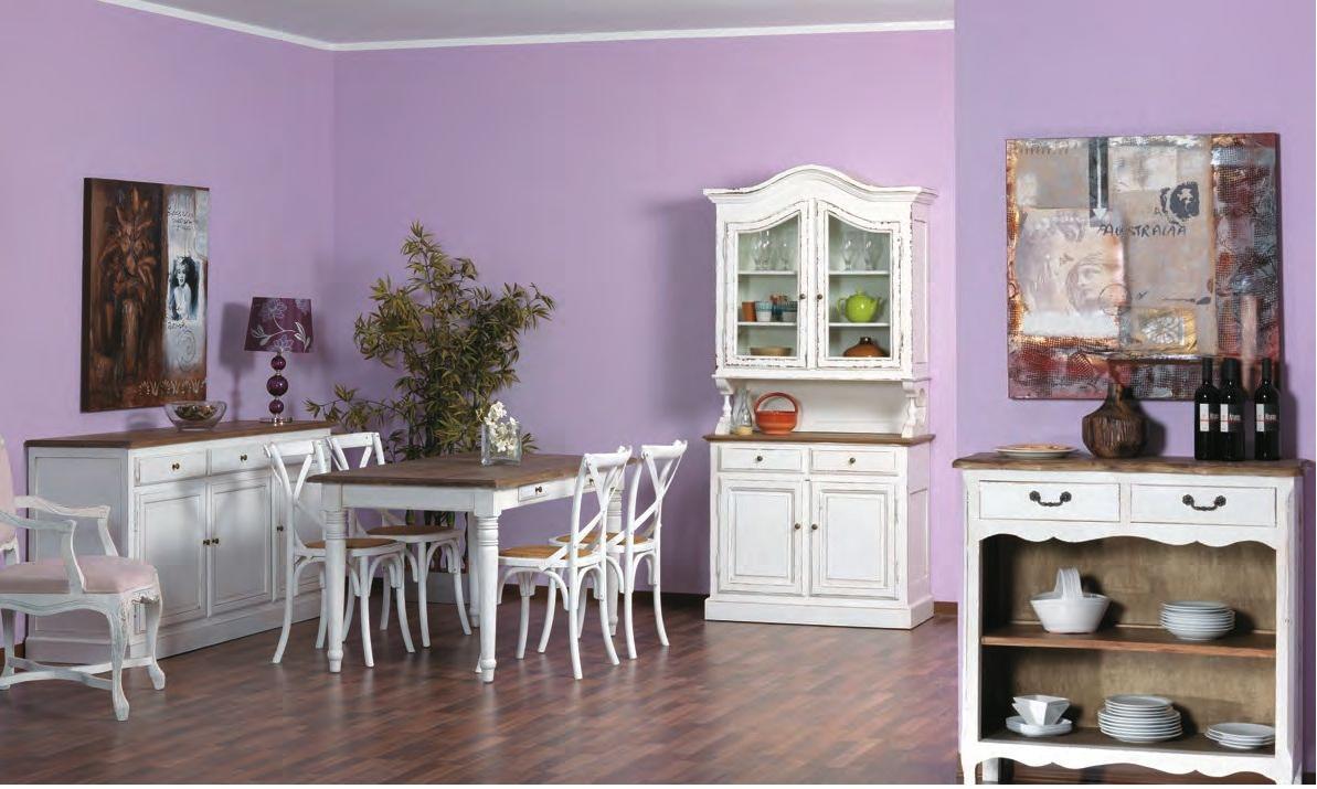 Tavolo provenzale legno bianco shabby etnico outlet mobili - Dipingere mobili legno ...