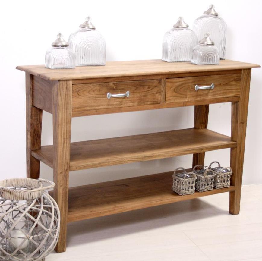 Consolle in legno naturale mobili ingresso etnici for Consolle con cassetti