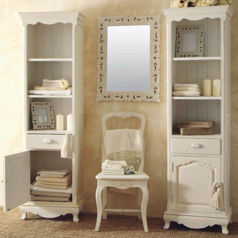 Mobile colonnina provenzale colonna legno bianco - Bagno provenzale shabby ...