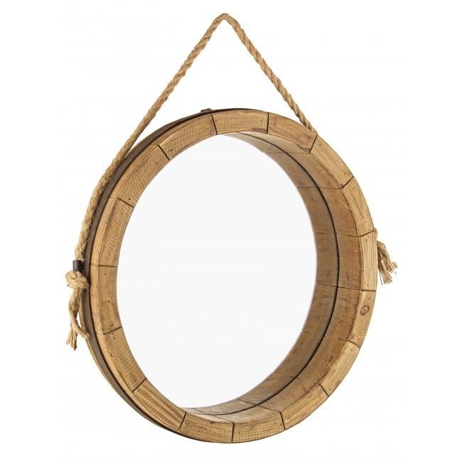 Specchio legno naturale mobili etnici vintage e industrial - Specchio tondo da parete ...