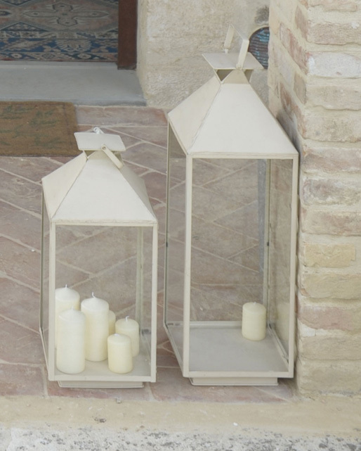 Lanterna ferro bianca maxi lanterne provenzali giardino - Lanterne per esterni da giardino ...