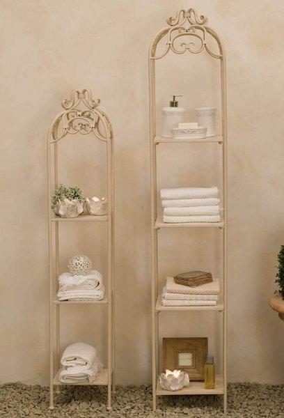 Set 2 scaffali ferro bianchi etnico outlet mobili etnici - Mobili in ferro battuto per bagno ...