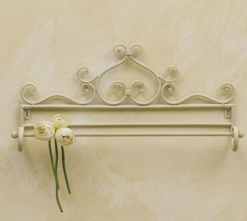 Porta asciugamano provenzale bianco mobili ferro battuto - Mobili in ferro battuto per bagno ...