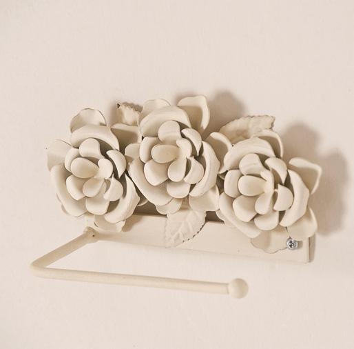 Accessori Bagno Ferro Bianco : Porta carta ferro bianco