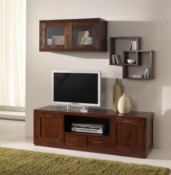 Composizione parete porta tv etnico teak outlet mobili etnici - Cucine etniche arredamento ...