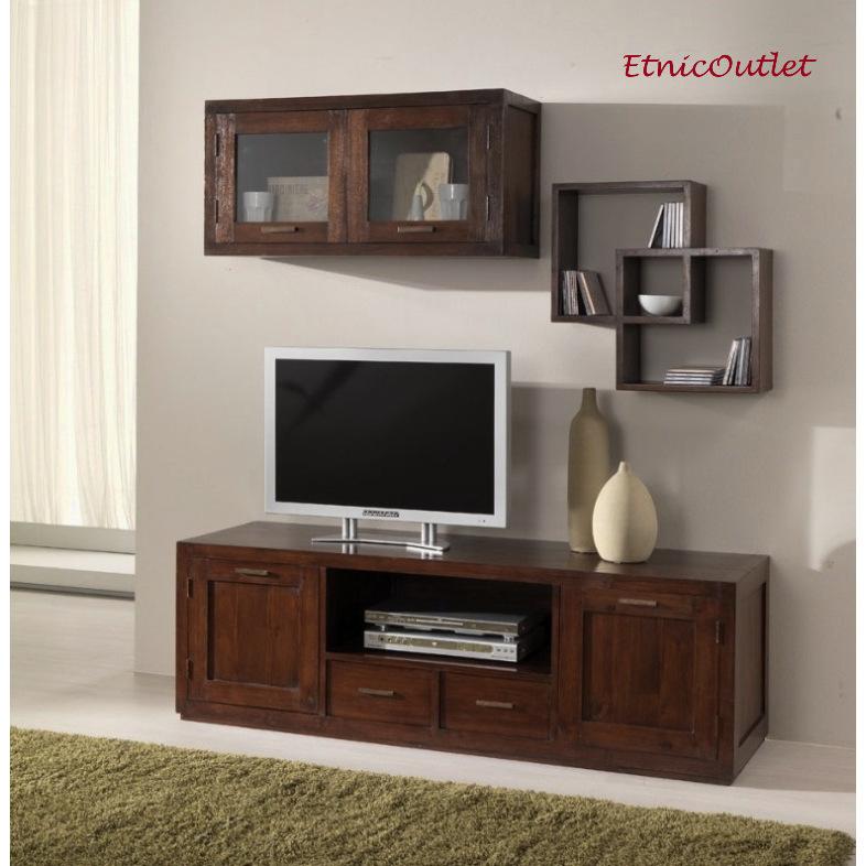 Composizione parete porta tv etnico teak outlet mobili etnici - Porta cd da parete ...