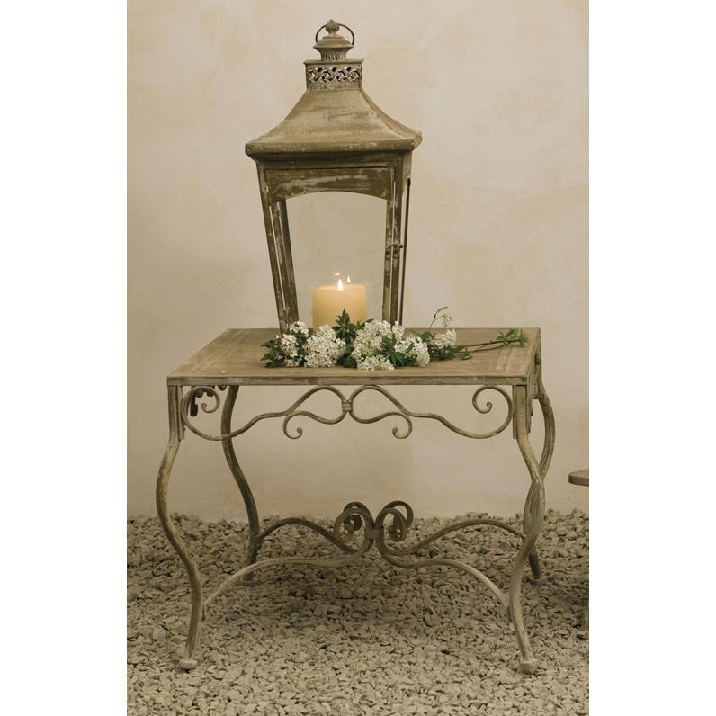 Tavolo provenzale rotondo bianco mobili esterno giardino for Tavolini da esterno in ferro