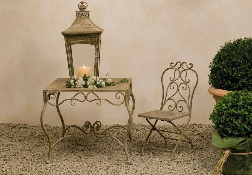 Tavolo provenzale rotondo bianco mobili esterno giardino - Tavolo in ferro battuto da giardino ...