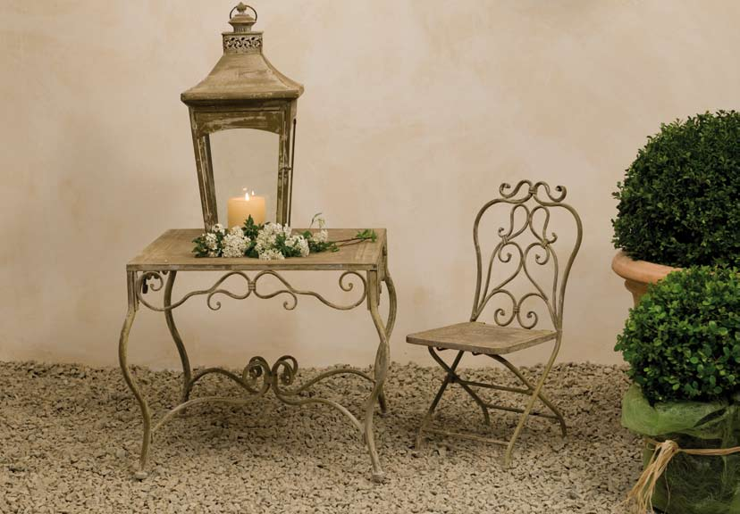 Tavolo provenzale rotondo bianco mobili esterno giardino - Set da giardino ferro battuto ...