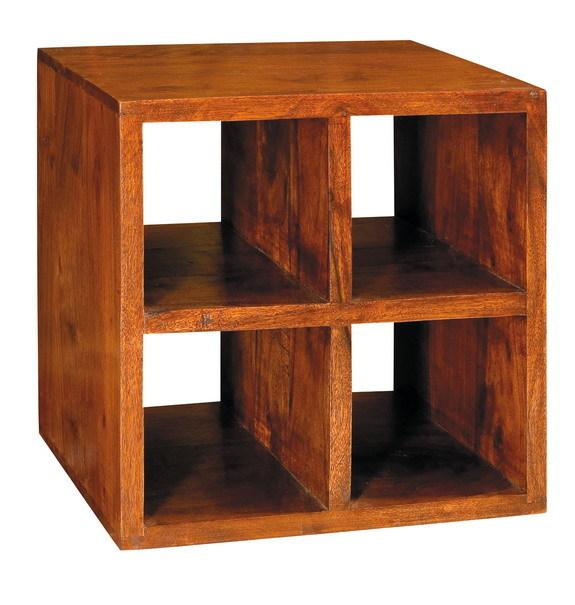 Cubo in legno massello 4 ripiani mobili etnici orientali for Cubi in legno arredamento