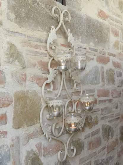 Portacandele da muro in ferro bianco outlet mobili etnici - Portacandele da tavolo ...