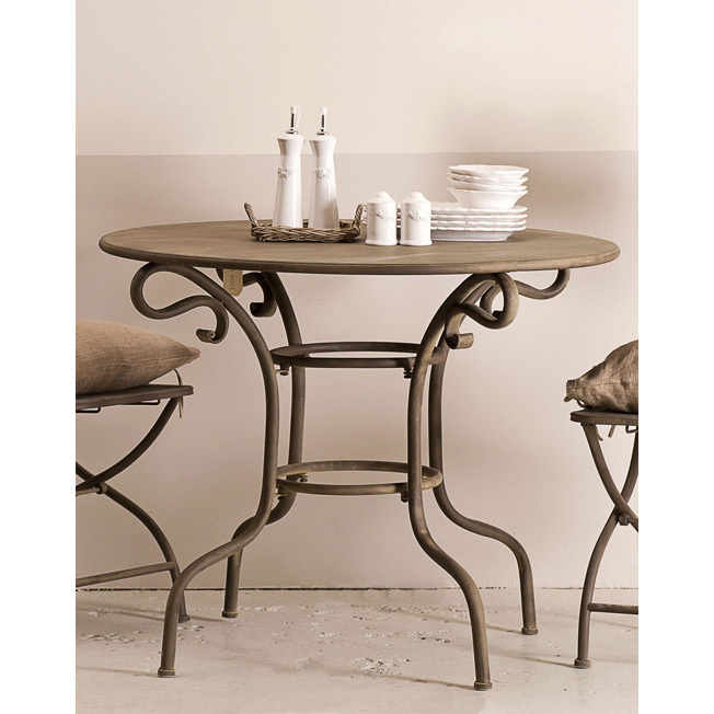 Tavolo provenzale rotondo bianco mobili giardino provenzale - Tavolo ferro battuto e vetro ...