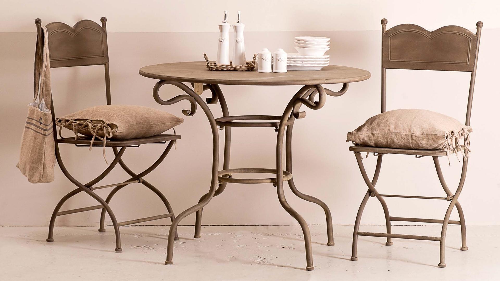 Tavolo provenzale rotondo bianco mobili giardino provenzale - Set da giardino ferro battuto ...
