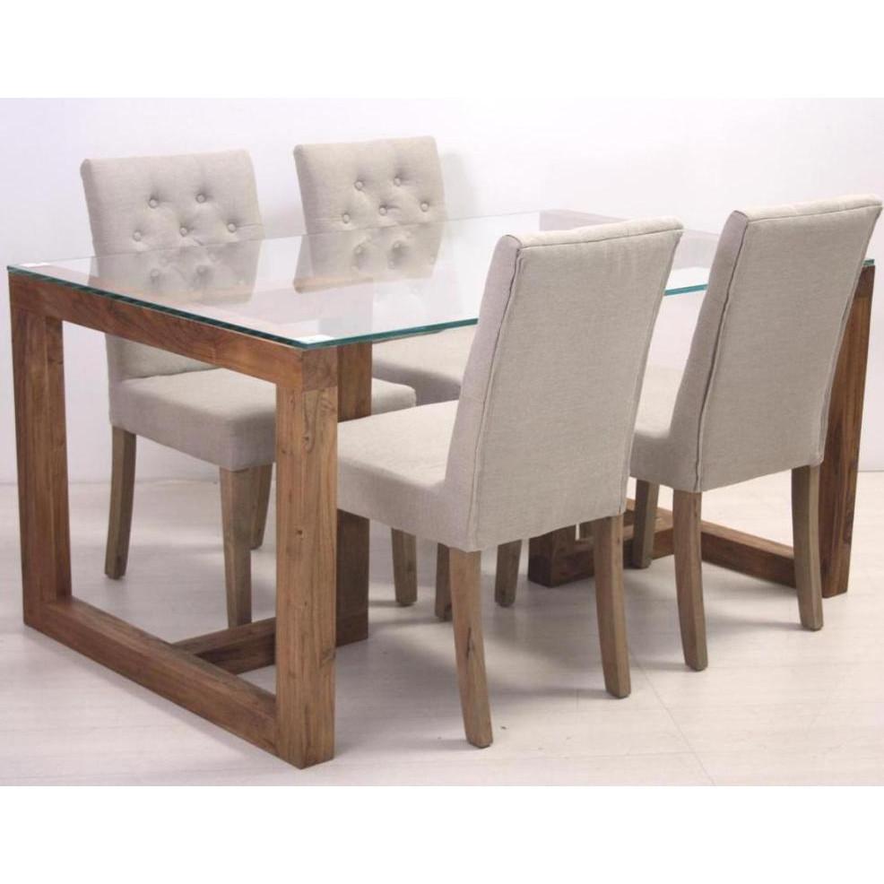 Tavolo con cristallo 145 x 90 tavoli in legno massello con - Tavolo cristallo ...