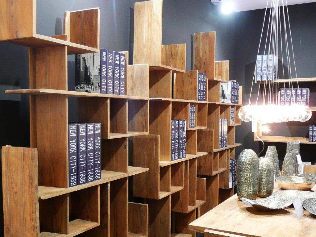 Libreria porta cd etnica legno naturale etnicoutlet mobili for Librerie in legno componibili