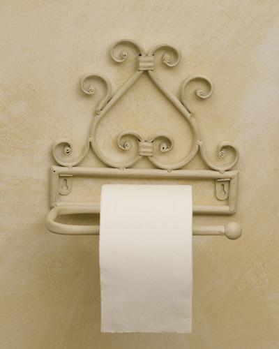 Porta carta in ferro battuto accessori bagno provenzali ferro - Mobili bagno in ferro battuto bianco ...