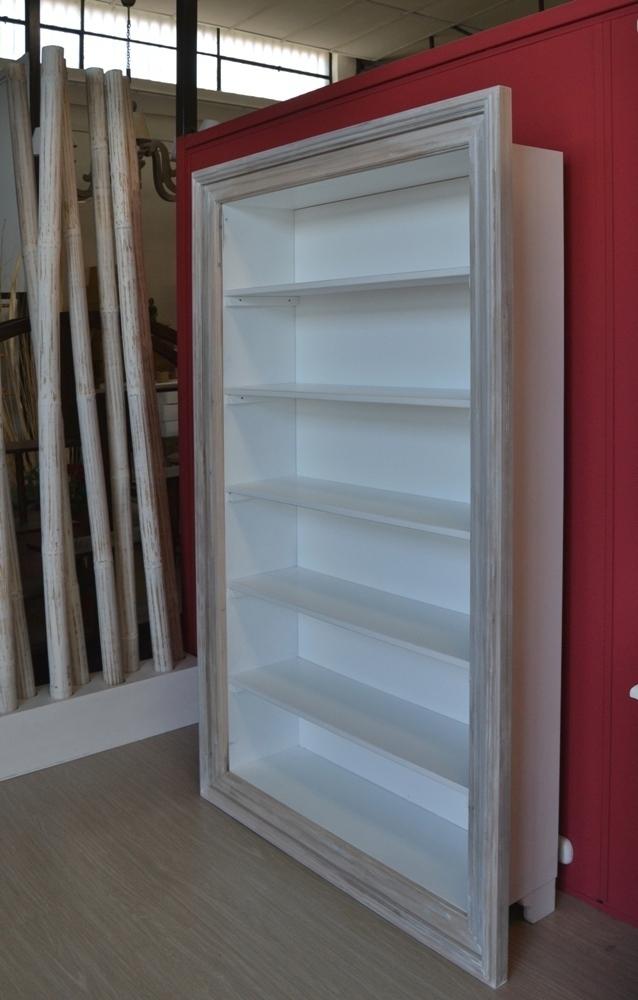 Libreria legno bianca shabby mobili provenzali online for Libreria a muro bianca